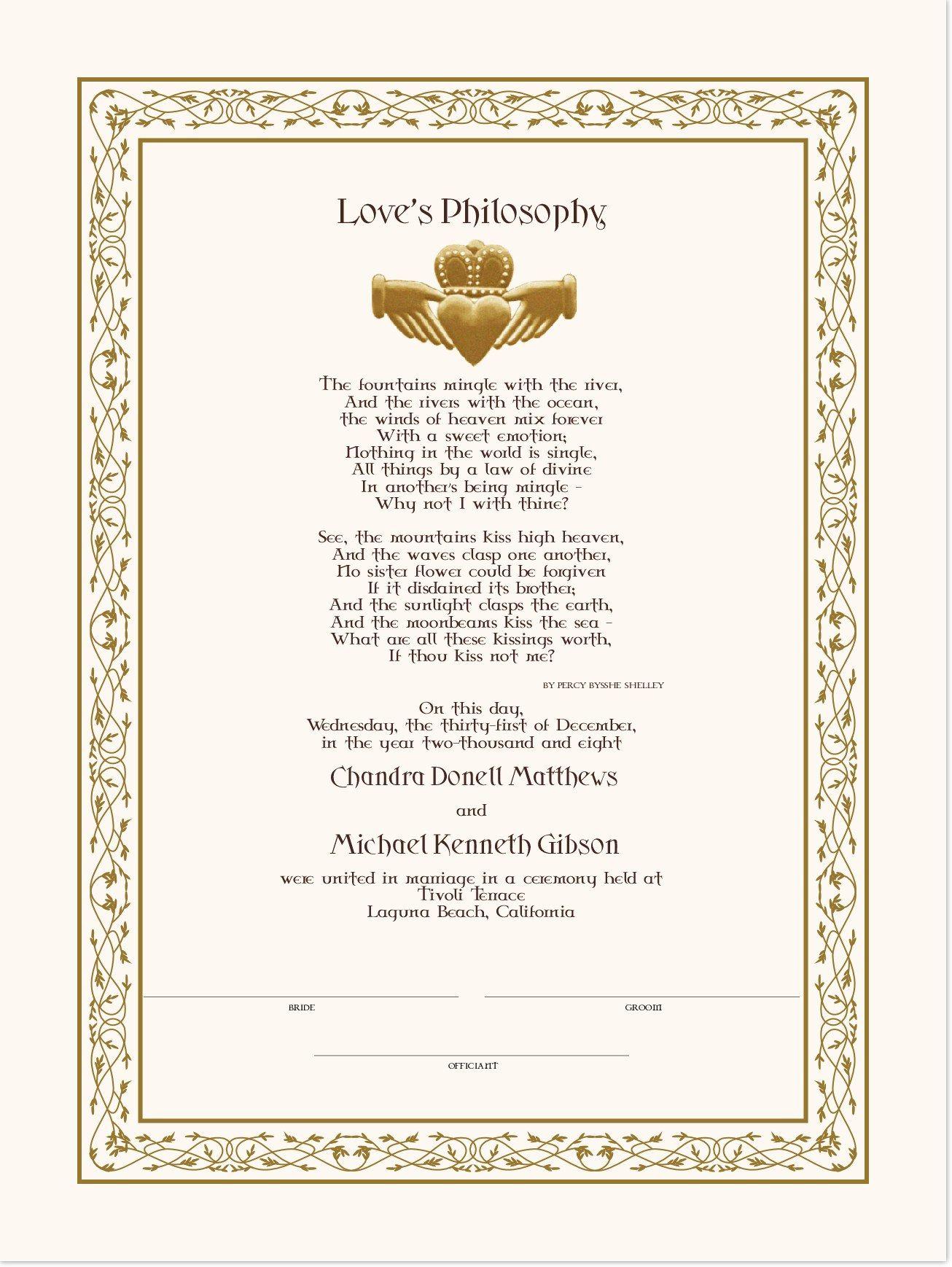 Love S Philosophy Celtic Wedding Certificates From Documents And Designs Wedding Certificate Celtic Wedding Wedding
