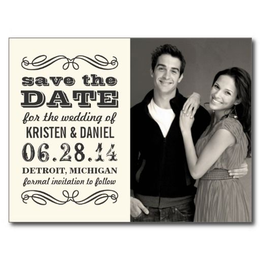 Ivory Photo Save the Dates | Vintage Poster Style Postcard