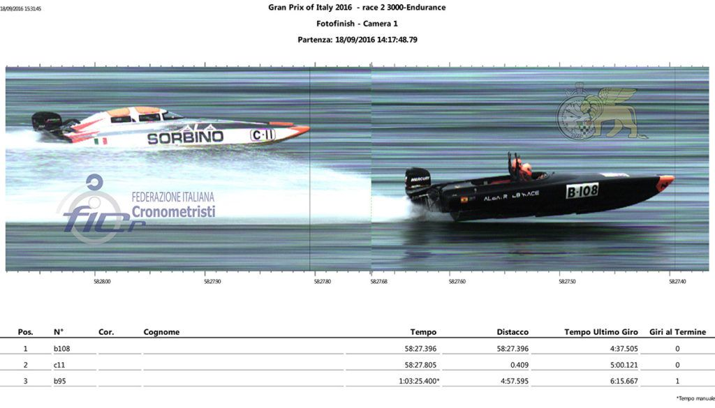 Powerboat racing at the Grand Prix of Italy. Timing by Federazione Italiana Cronometristi, Venice Team