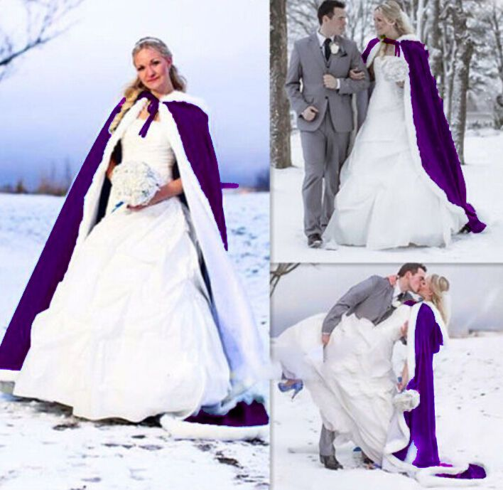 c6b97c47d70 Bridal Winter Warm Wedding Cape Cloak purple bridal Faux Fur Shawl coat S  to 4XL