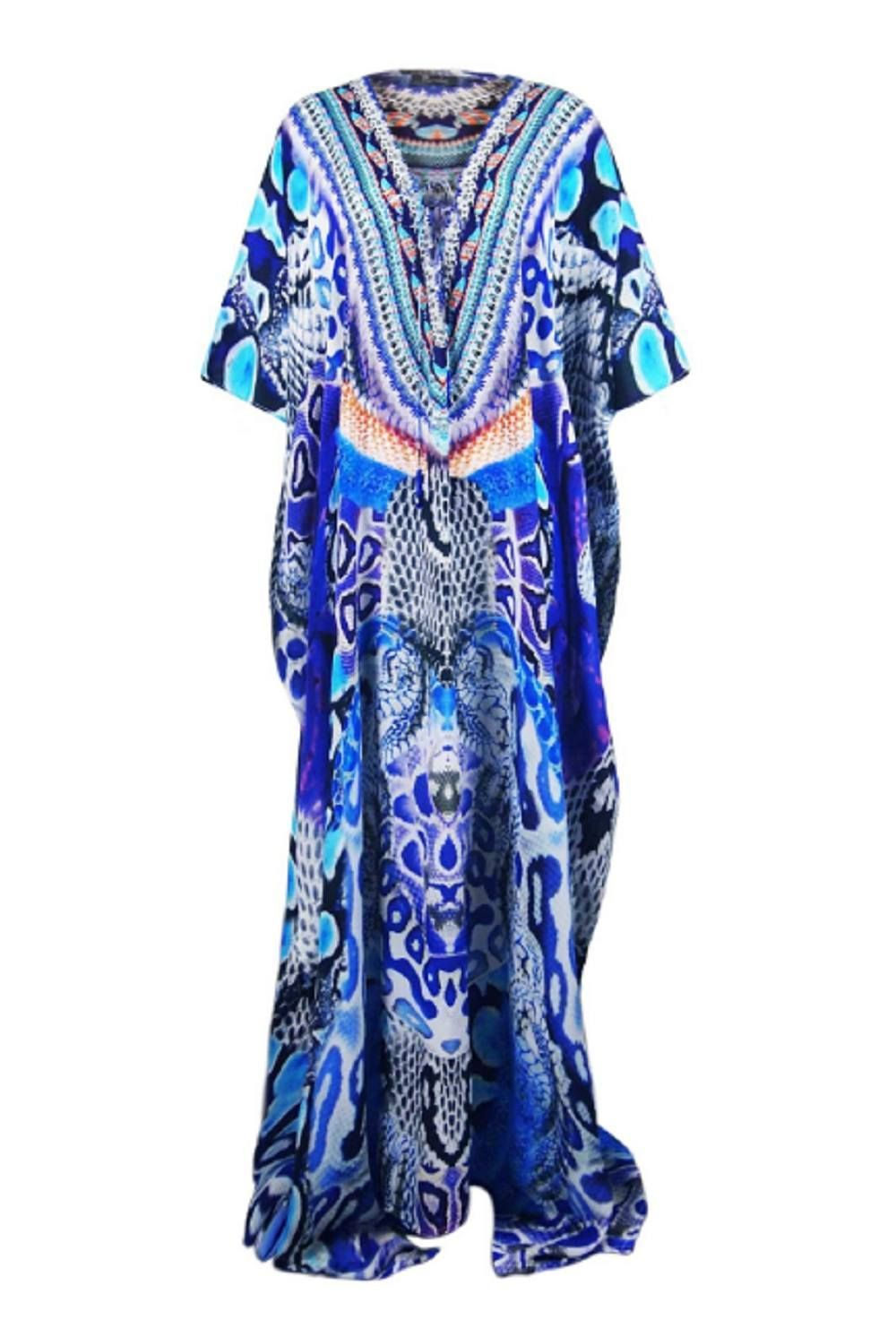 Shahida parides blue python print lace up long kaftan in