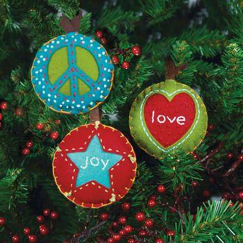 Peace, Love, Joy Christmas Ornaments - Felt Applique Kit Christmas