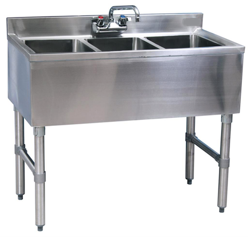Stainless Steel 3 Compartment Underbar Sink 36 3 Compartment