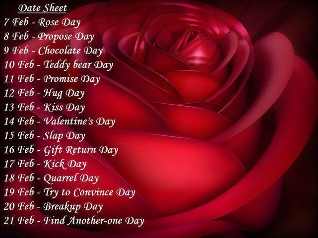 Valentine Week 2016 List Schedule Rose Day Propose Day Hug