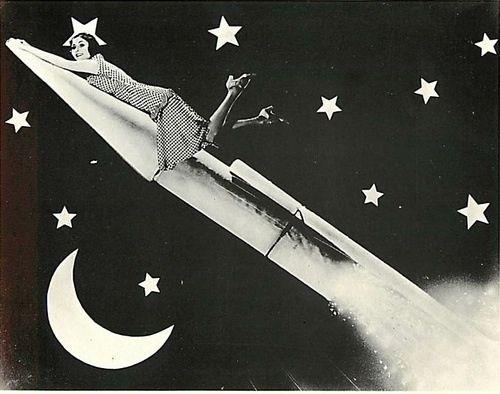 Vintage Paper Moon Pinup Woman Rocket Ship