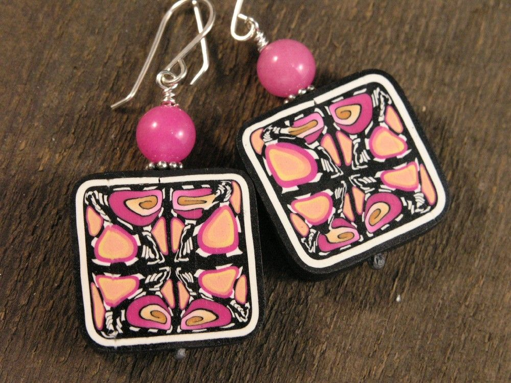 pink jade, handmade polymer clay beads and sterling silver earrings. $10.00, via Etsy.