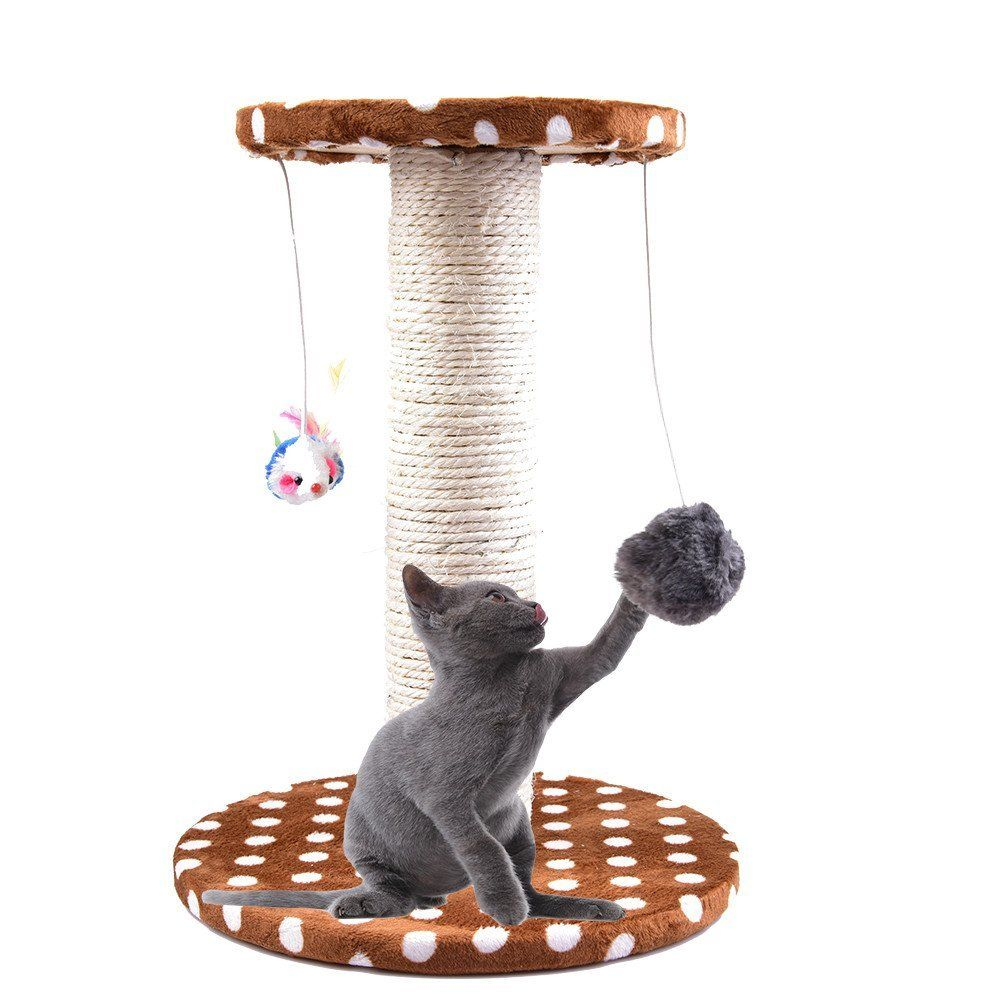 Yunt Cat Tree Kitten Scratching Posts With Hanging Mouse And Plush Toy For Cat Playing Visit Th Cat Tree Scratching Post Cat Toys Best Interactive Cat Toys