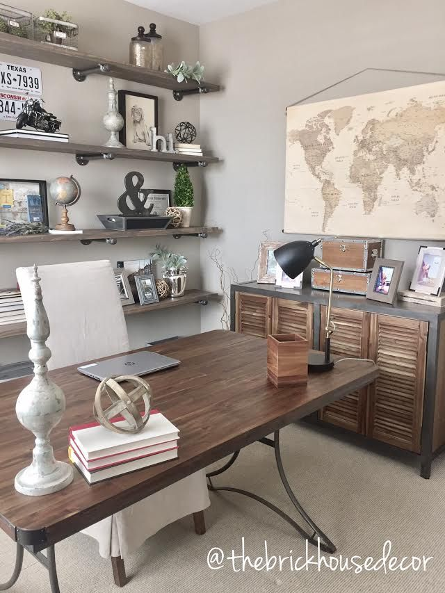 Superb World Market Furniture, Home Office, Decor, Desk, Side Table, Diy, Pipe  Shelves, Linen Chair, Office Decor, Map, Vintage, Industrial Farmhouse