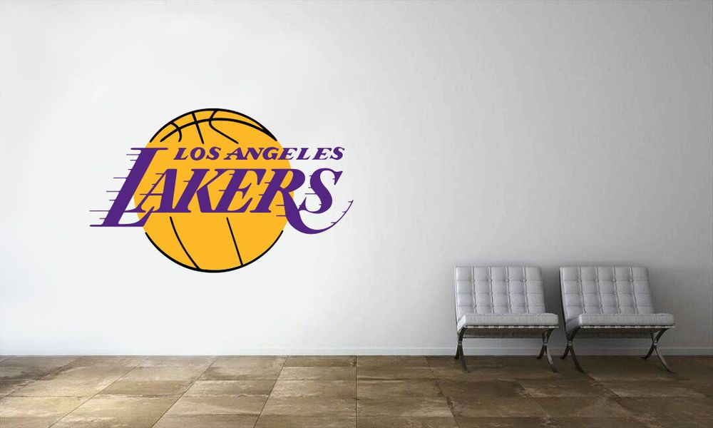 Los Angeles Lakers Logo Wall Decal Nba Basketball Decor Mural Vinyl Sticker Ebay Logo Wall Basketball Room Lakers Logo