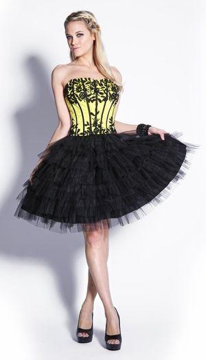 Blackyellow Prom Dress Ballerina Poofy Skirt Strapless Corset