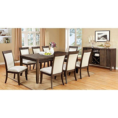 Furniture of America Midkiff Transitional 9 Piece Wood Di s
