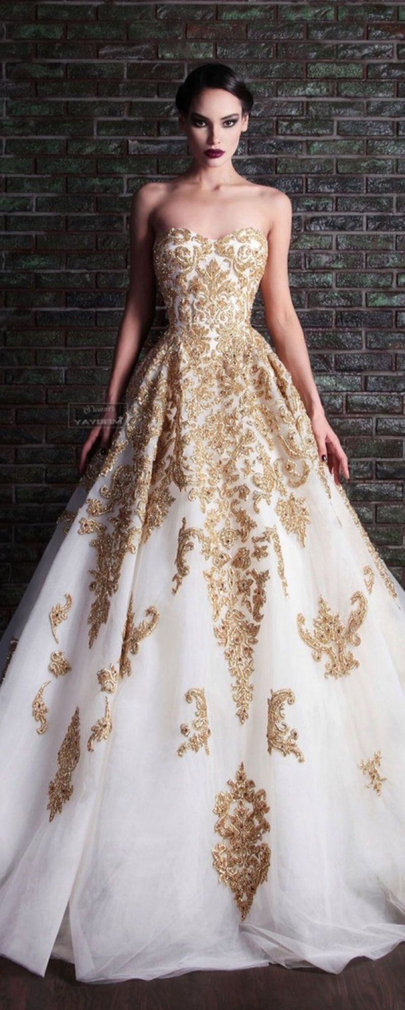gold white wedding dress wedding dress with gold beading Google Search