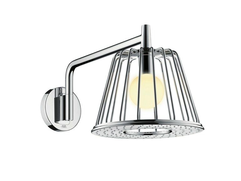 Rain shower with built-in lights Axor lamp shower nendo   chrome-plated overhead shower, design Nendo, Axor Lamp Shower Nendo collection to manufacturer Hansgrohe