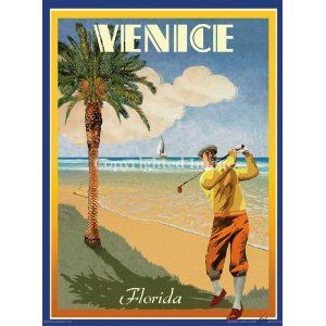 Venice Beach FL-Vintage Art Deco Style Travel Poster-by Aurelio Grisanty