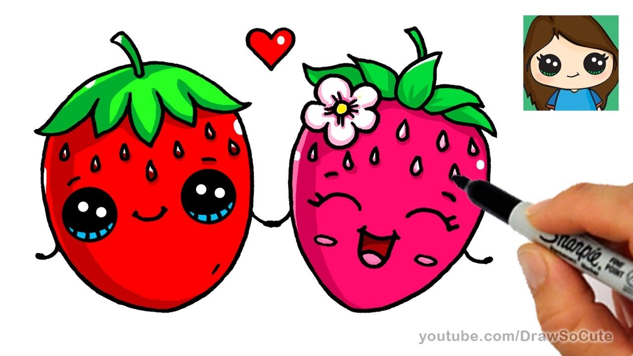 How To Draw A Strawberry Easy Cute Fruit Cute Cartoon Drawings