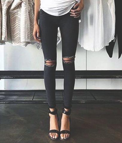 White skinny jeans long leg