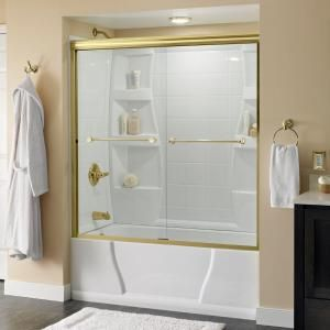 Delta Crestfield 59-3/8 in. x 56-1/2 in. Semi-Framed Bypass Sliding Tub Door in Polished Brass with Clear Glass-159288 - The Home Depot