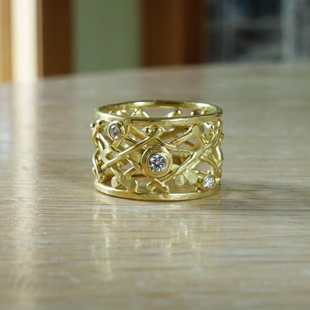 18k Gold Layered Cross Ring With Diamonds Style Handmade Fashion: Handmade Wedding Bands New Hshire At Websimilar.org