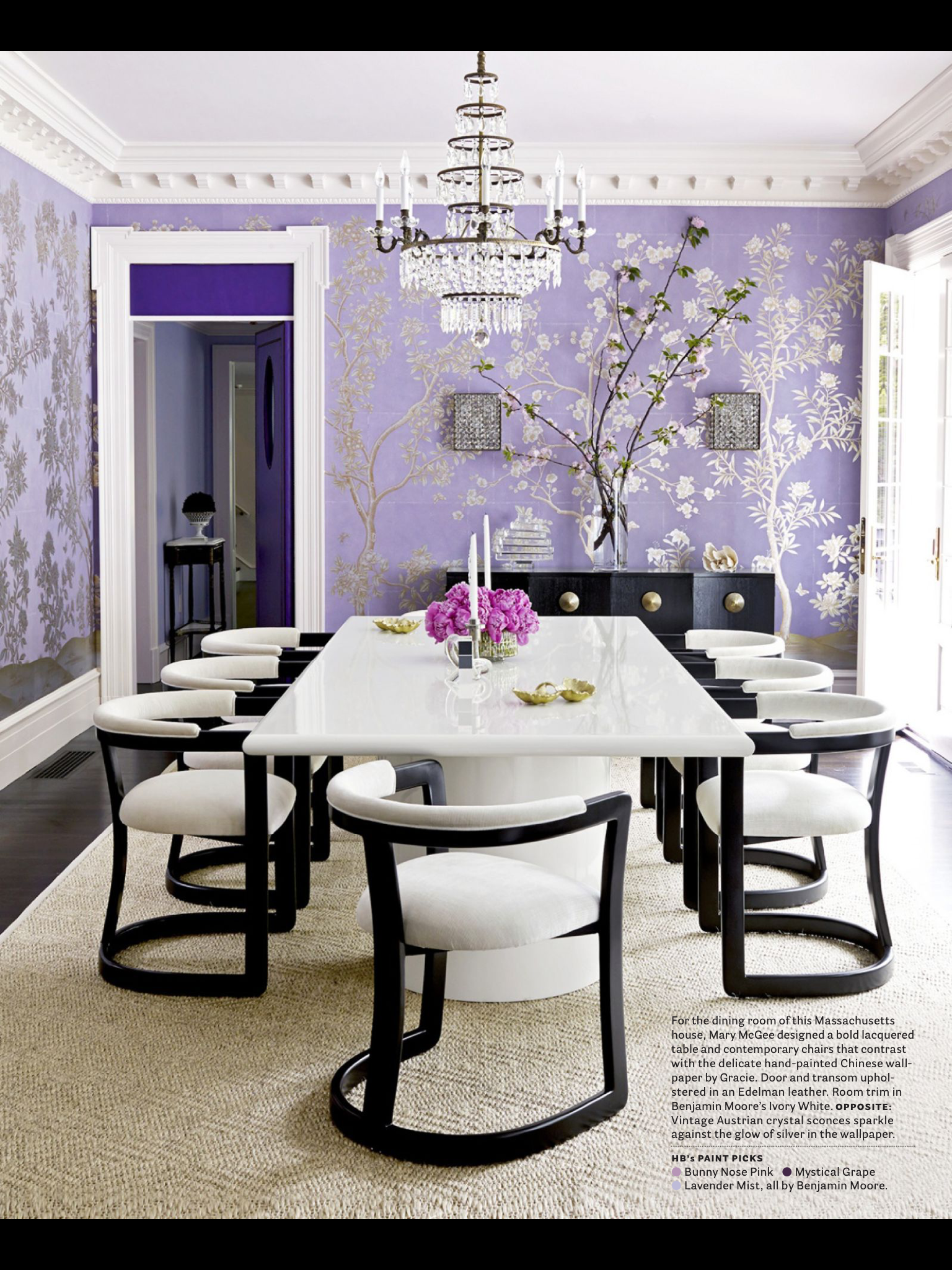 For My Purple Obsessed Friend And Mother : For The Dining Room Of This  Massachusetts House, Mary McGee Designed A Bold Lacquered Table And  Contemporary ...