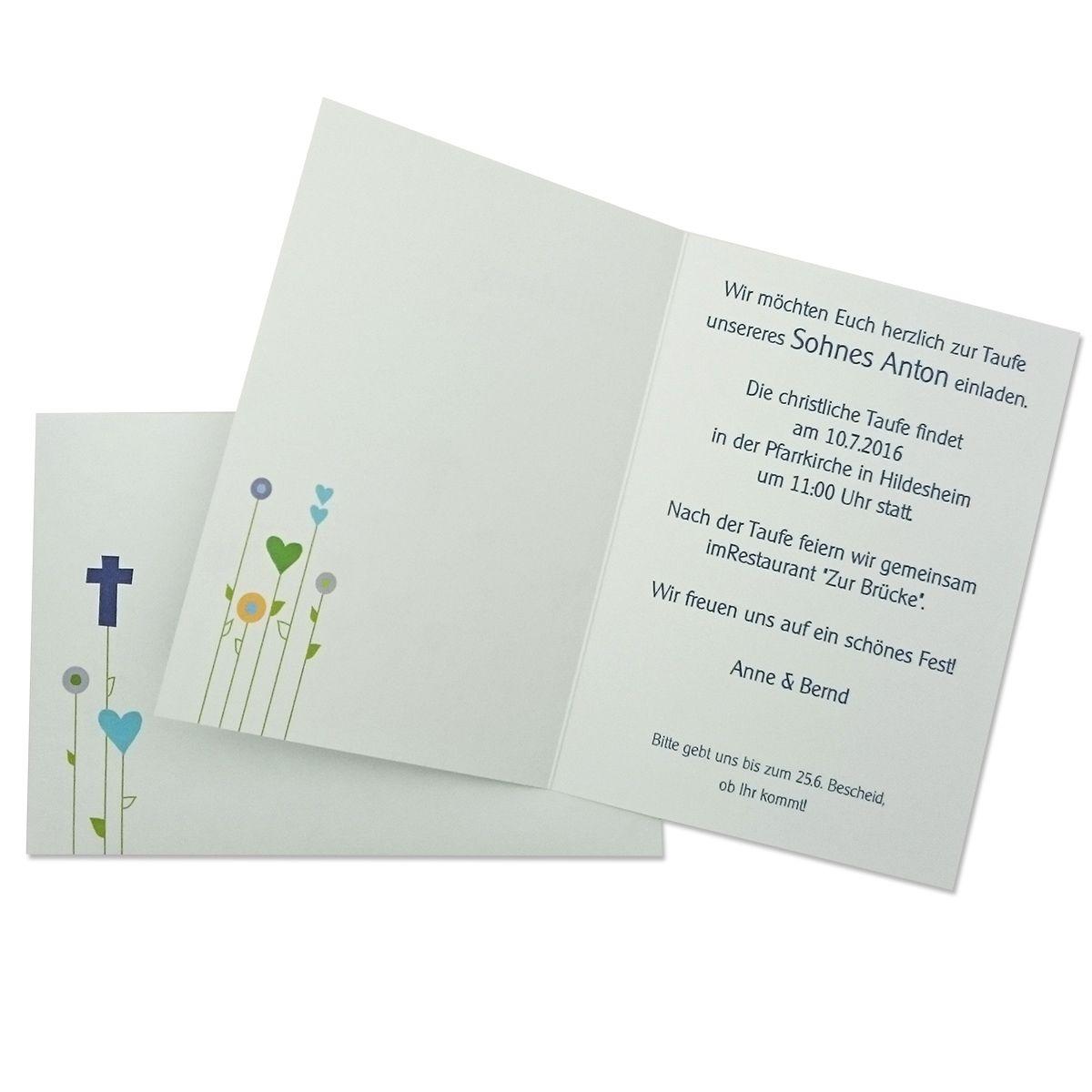 Einladungskarte zur Taufe, Kommunion, Konfirmation. Motiv: Blumenwiese von MyPaperSet