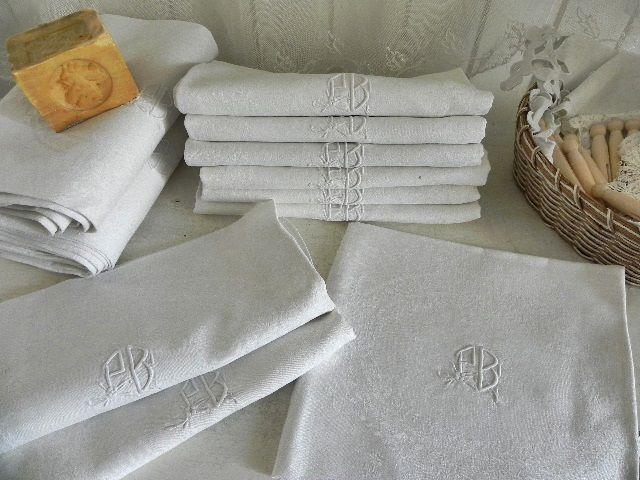 linge ancien 17 serviettes de table damassé pur lin monogramme PB