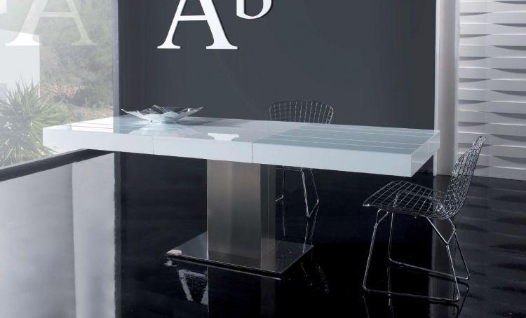 Moderna mesa de comedor extensible, de diseño sólido y elegante ...