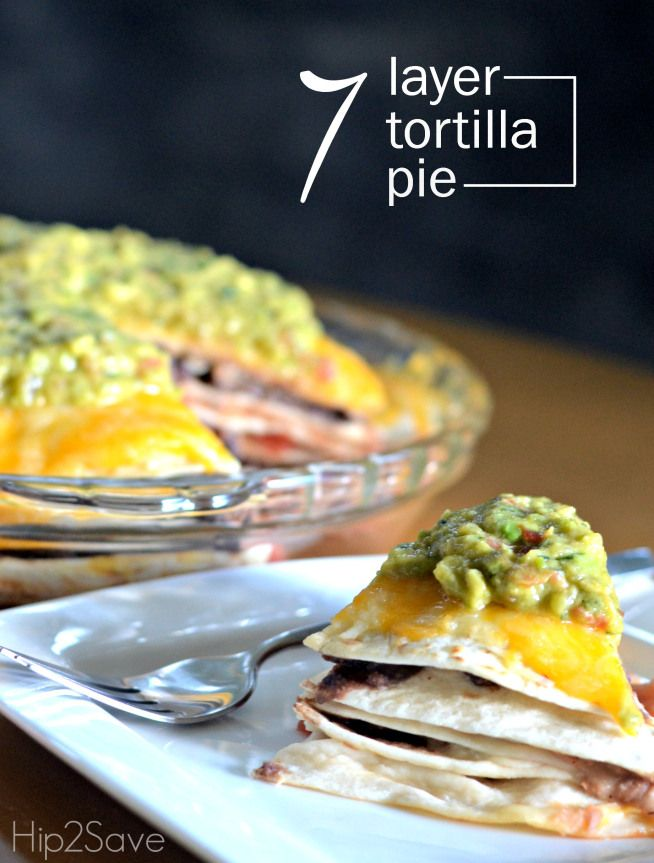 7 Layer Tortilla Pie (Meatless Monday Recipe) Here's an easy-to-make meatless dish that uses inexpensive pantry staples which result in a delicious Mexican inspired meal. Meal recipe from @hip2save.