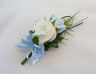 blue wedding flower | Grooms Double Rose Buttonhole Ivory & Light Blue Wedding Flowers