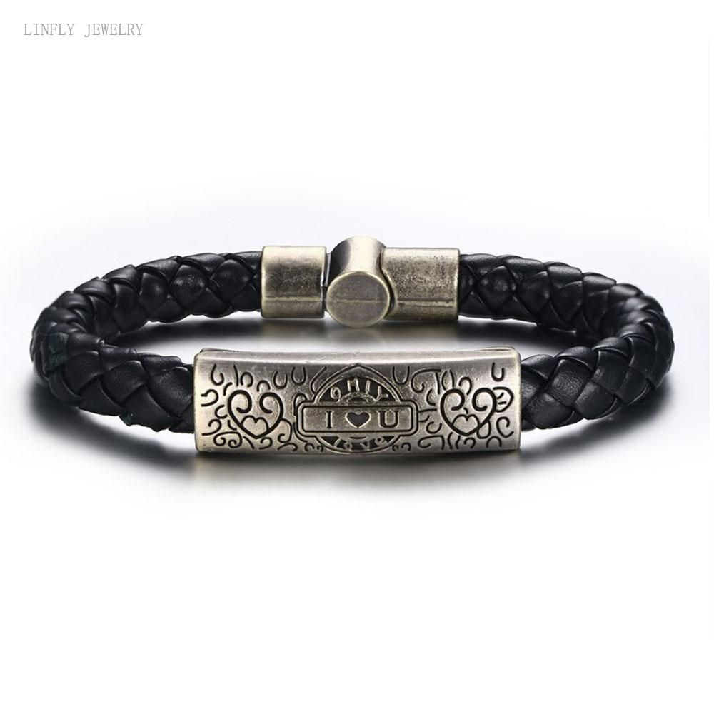 Hot sell bracelet alloy pu hand strap menus bracelets retro style