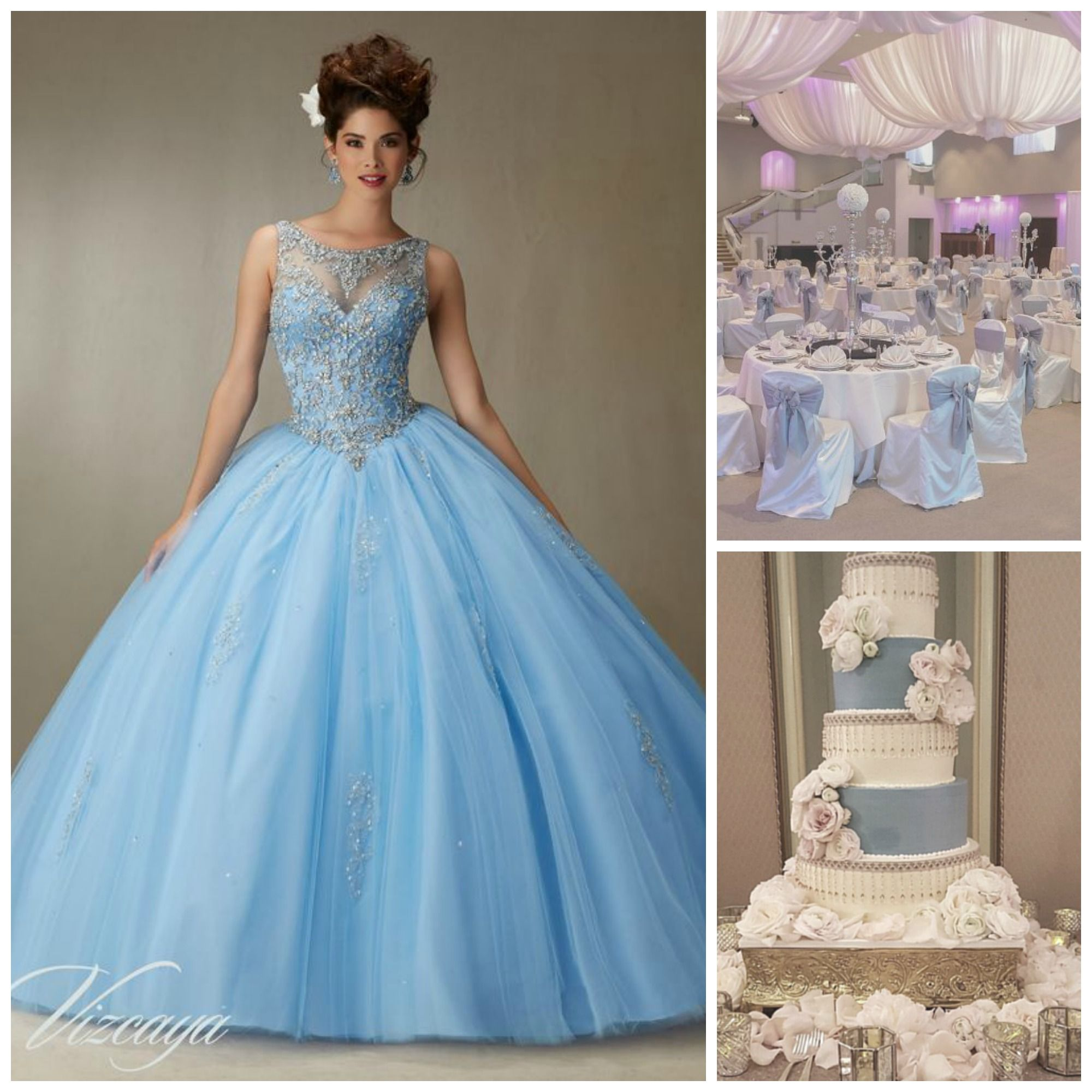 Quince Theme Decorations  Quinceanera dresses blue, Quince