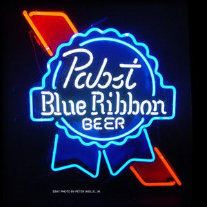 Vintage Neon Beer Signs Vintage Pabst Blue Ribbon Beer Neon Sign Bar Den Rec Room Mancave