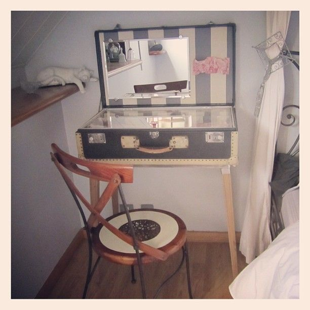 Cool vintage suitcase turned vanity. Cute idea in a small apt or ...