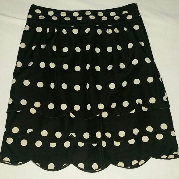 Anthropologie Floreat scalloped skirt Cream colored polka dots, scalloped front. Heavy duty side zipper. Anthropologie Skirts A-Line or Full