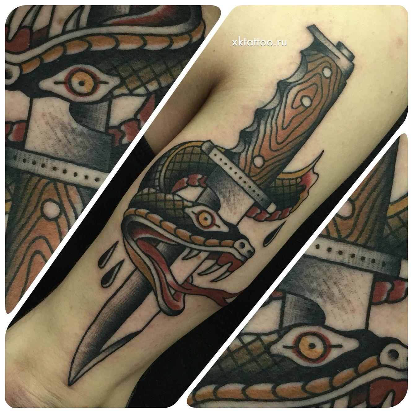 Dagger VS snake. Tattoo by Dmitry Rechnoy (Re4noy). XKtattoo studio. http://www.xktattoo.ru