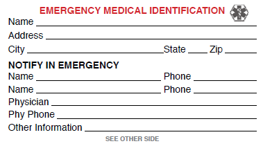 image relating to Printable Emergency Card Template called template for badge Totally free Health care Identity Card (simply click in the direction of perspective or