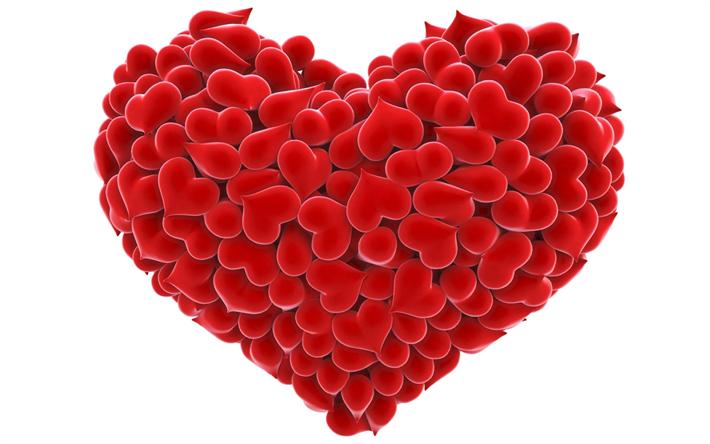 Download Wallpapers Valentines Day 3d Heart 4k White Background Hearts Besthqwallpapers Com Imagens De Coracao Gif De Coracao Coracao Apaixonado