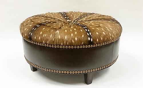 Round Leather Ottoman - Axis Hair on Hide Ottoman - Western ...