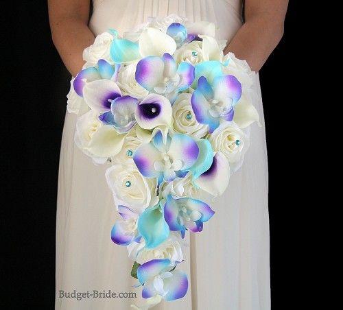 Details About Bridal Bouquet Package Turquoise Purple Wedding