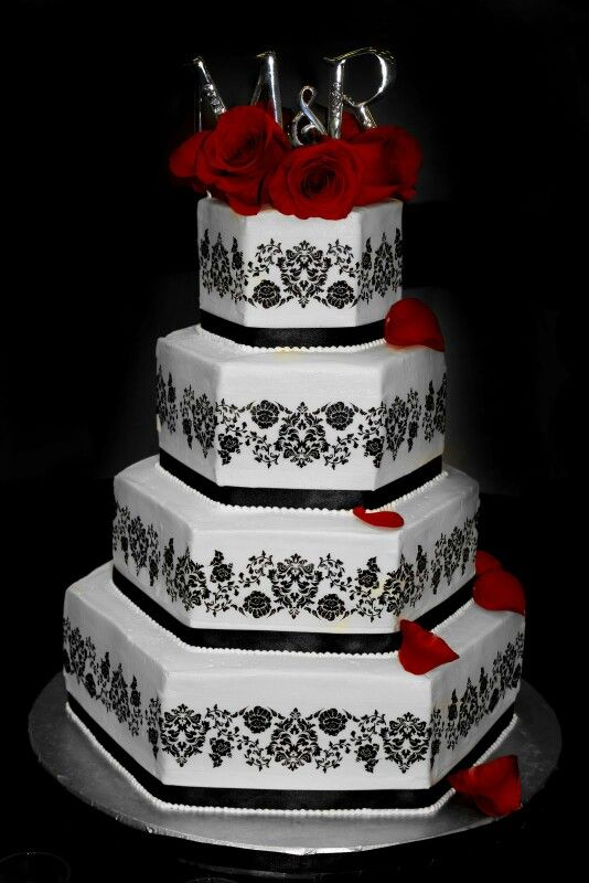 Wedding Cake Mondays Damask Cakes My Inspired Find This Pin And More On Red Black