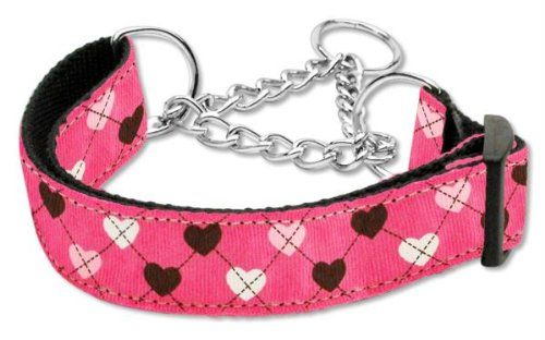 Mirage Pet Products Argyle Hearts Nylon Ribbon Martingale Collar for Pets Large Bright Pink >>> Check out this great product.Note:It is affiliate link to Amazon.