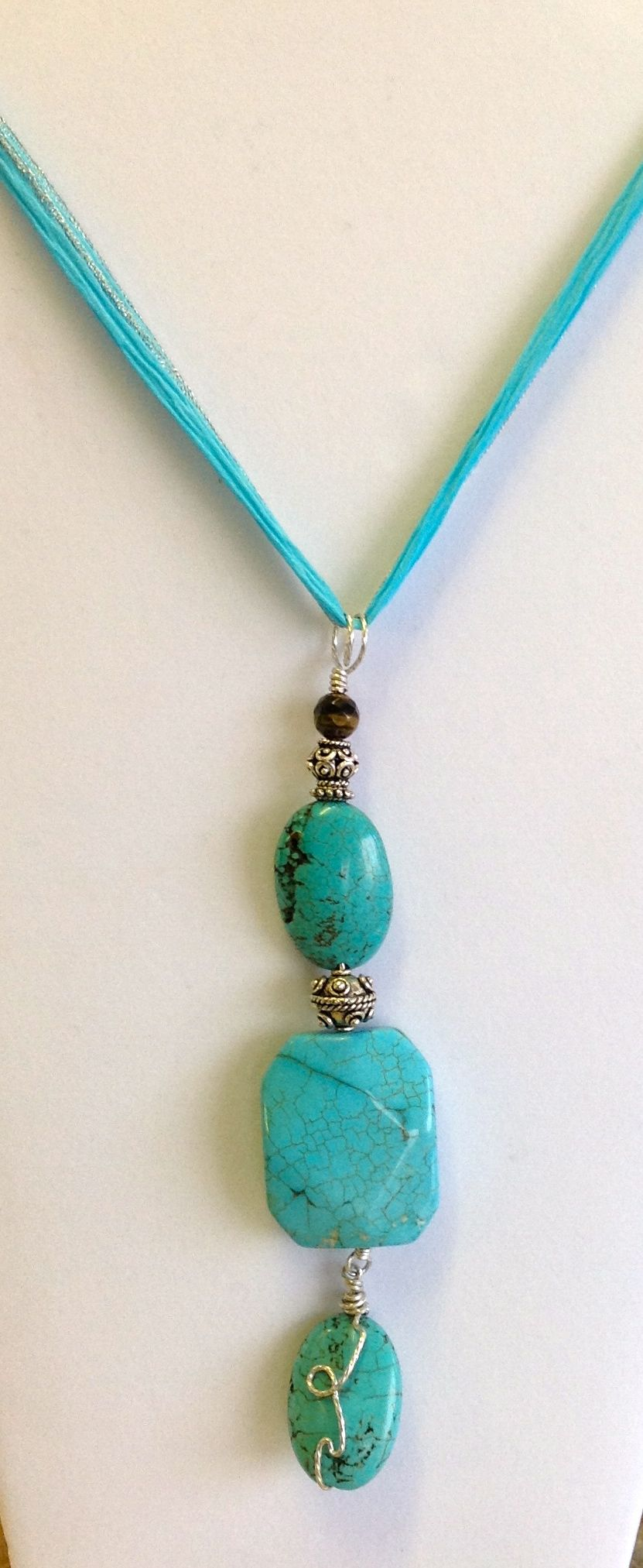 Turquoise Nuggets and an Organza Ribbon