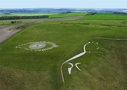 White Horse, which was carved into the chalk hillside above the village of Uffington in Oxfordshire England over three thousand years ago.