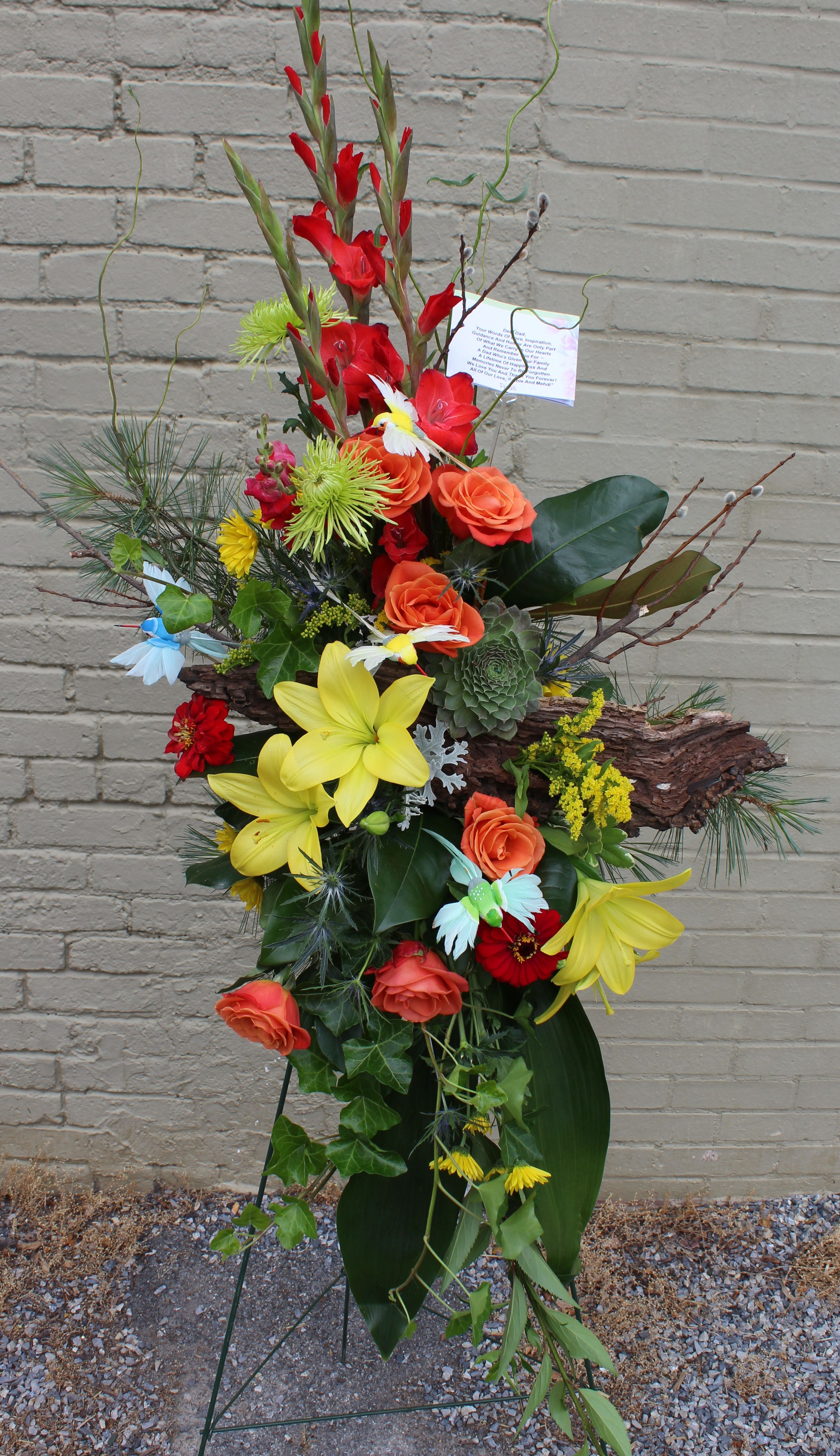 Hummingbird funeral standing spray funeral flowers pinterest hummingbird funeral standing spray izmirmasajfo