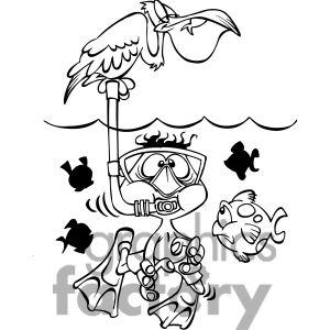 Clipart Of Black White Kid Scuba Diver 387959 Black And White Cartoon Art Cartoon