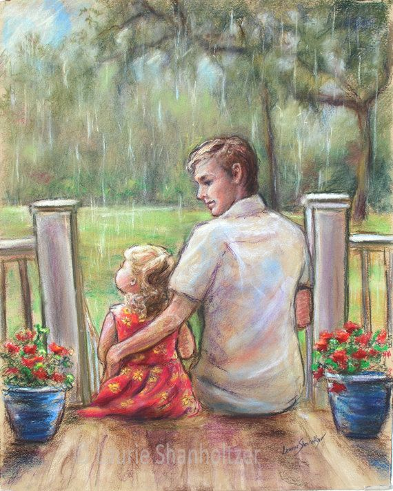 """Father, Daughter, """"Rainy Day..Just Daddy and Me"""" Print, Pastel"""