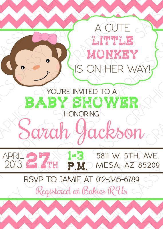 Girls baby shower invitation monkey theme chevron pink green by girls baby shower invitation monkey theme chevron pink green by sassygfx filmwisefo Gallery