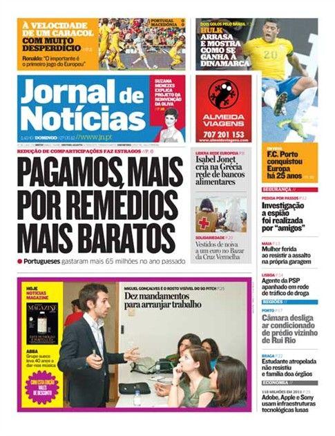 Veja a capa de 27 de maio do Jornal de Notícias.