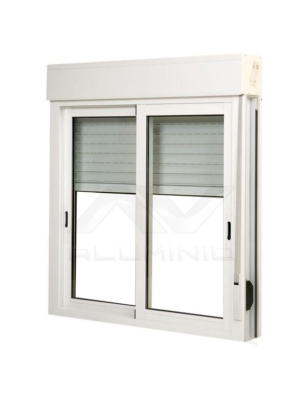 ventana aluminio blanco con persiana y mosquitera beto