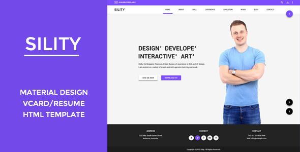 Sility  Vcard Cv  Resume Html Template  Template Business