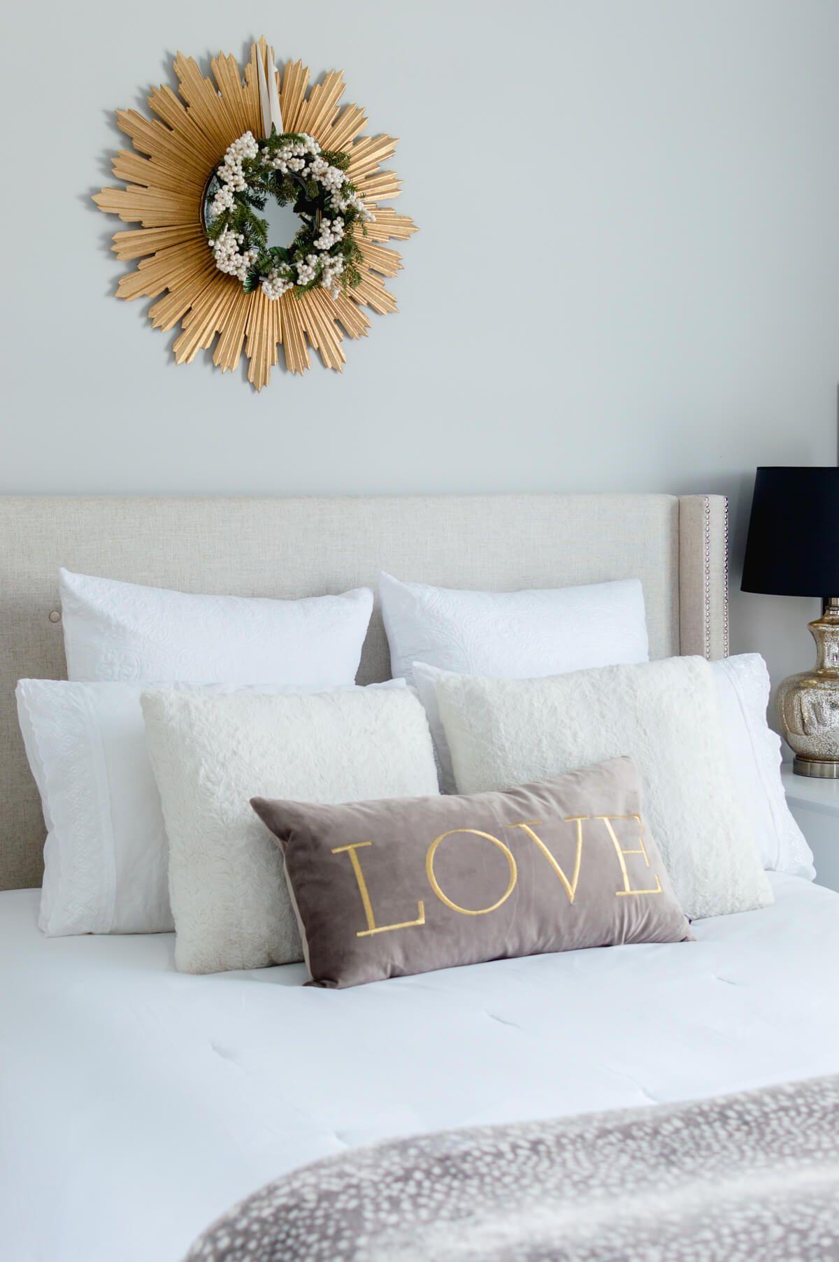 Master bedroom winter decor inspiration. | room decor | bedroom decoration | pillow styling | thehomeicreate.com #winterdecorating #bedroomdecor
